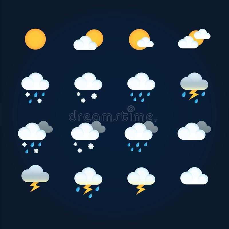 Weather icons sun and clouds in sky, rain with snow, thunder and lightning. Flat vector weather and meteorology for vector illustration