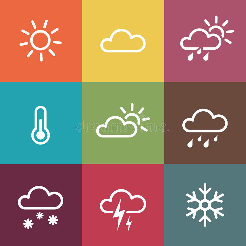 Weather Icons on vintage colorful tiles background vector illustration