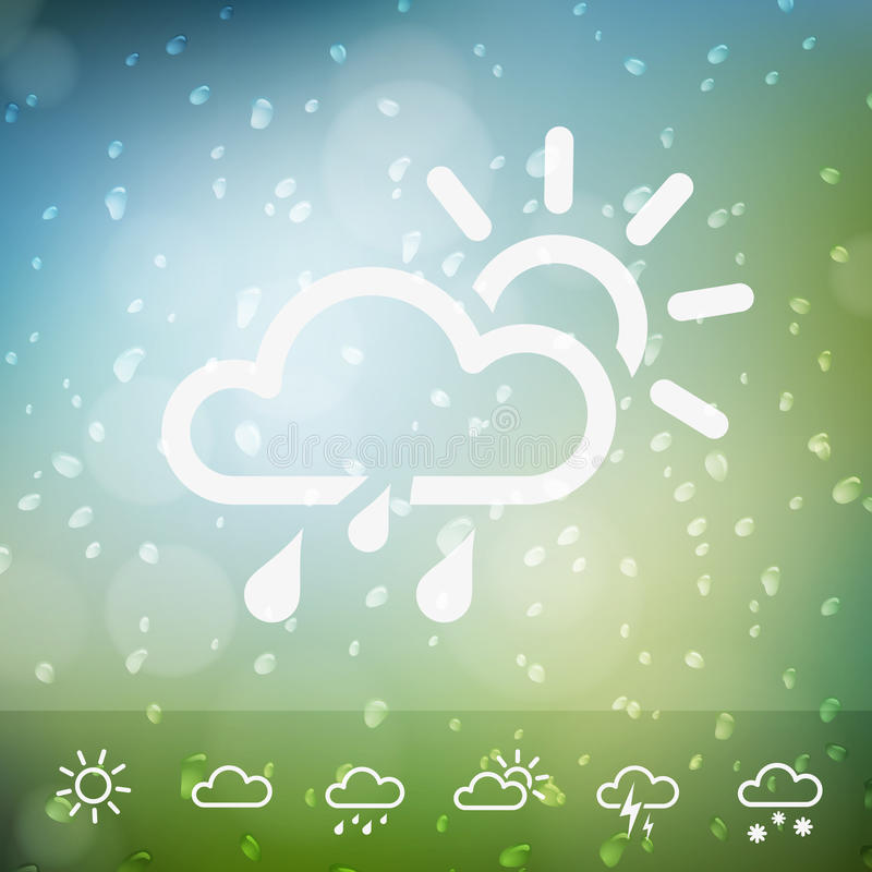 Weather Icons on Water drops rain background. Isolated from background. Each icon in separately folder royalty free illustration