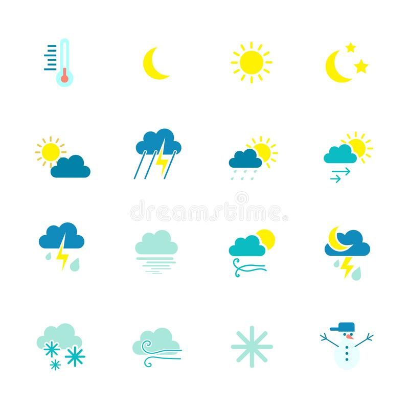 Weather icons. Weather emblem. Round icons with weather symbols and phases of the moon. vector illustration