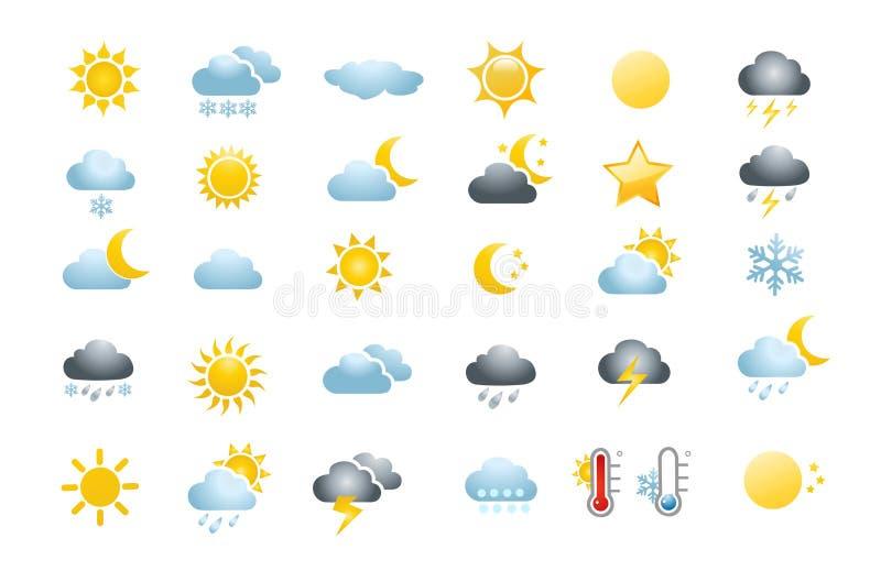 30 weather icons. On white background royalty free illustration