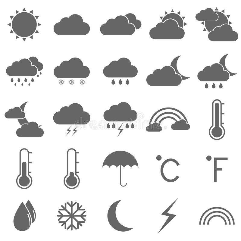 Download Weather Icons On White Background Stock Vector - Illustration: 33906170