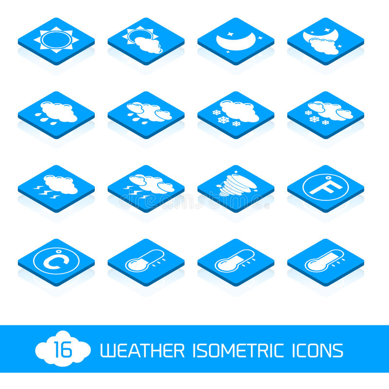 Download Weather Isometric Icons White And Blue Stock Vector - Image: 41697789
