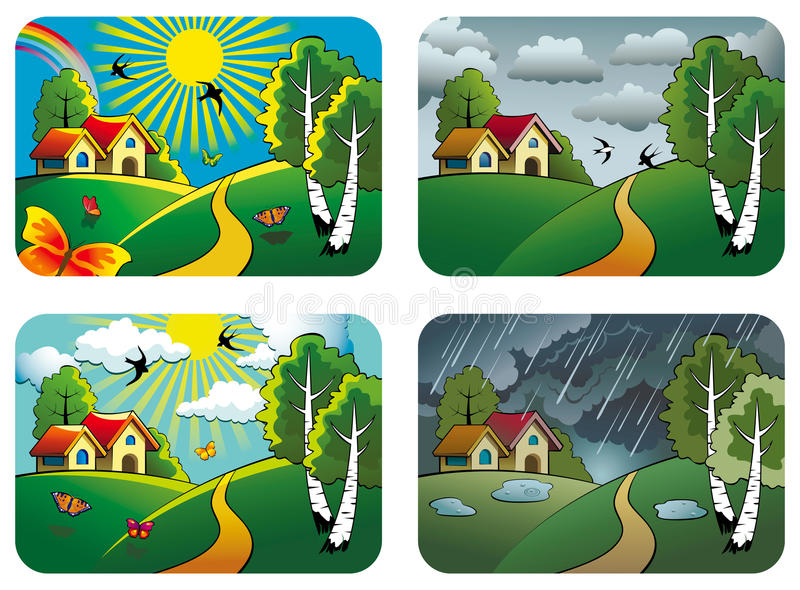 Download Weather landscapes stock vector. Image of house, spring - 25400402