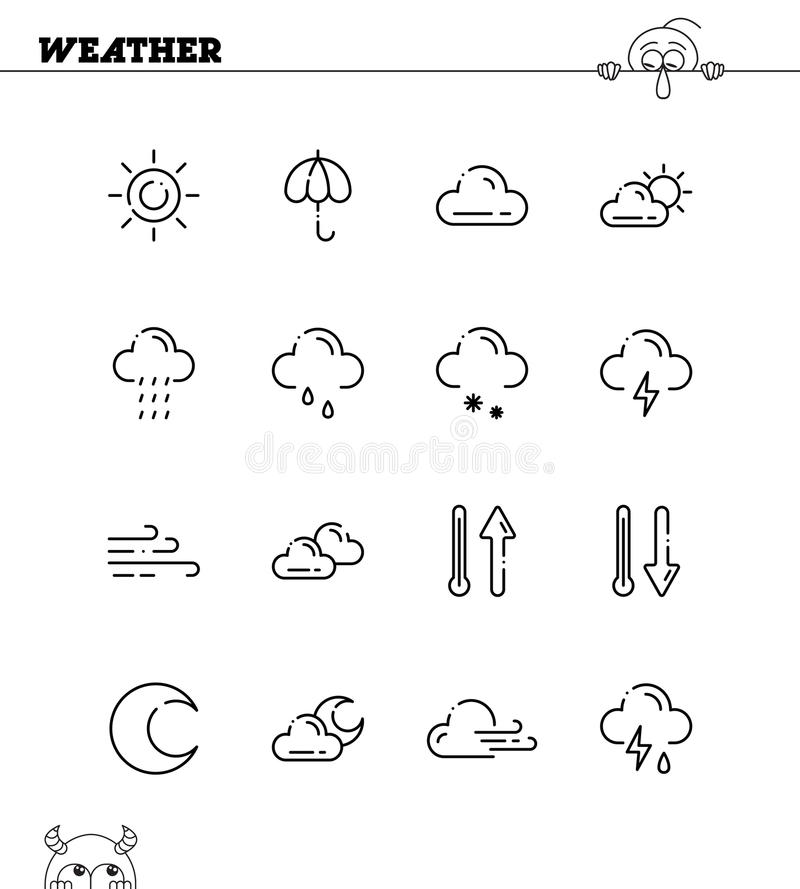 Weather line icon. Weather flat icon set. Collection of high quality outline symbols for web design, mobile app. Vector thin line icons or logo of weather vector illustration