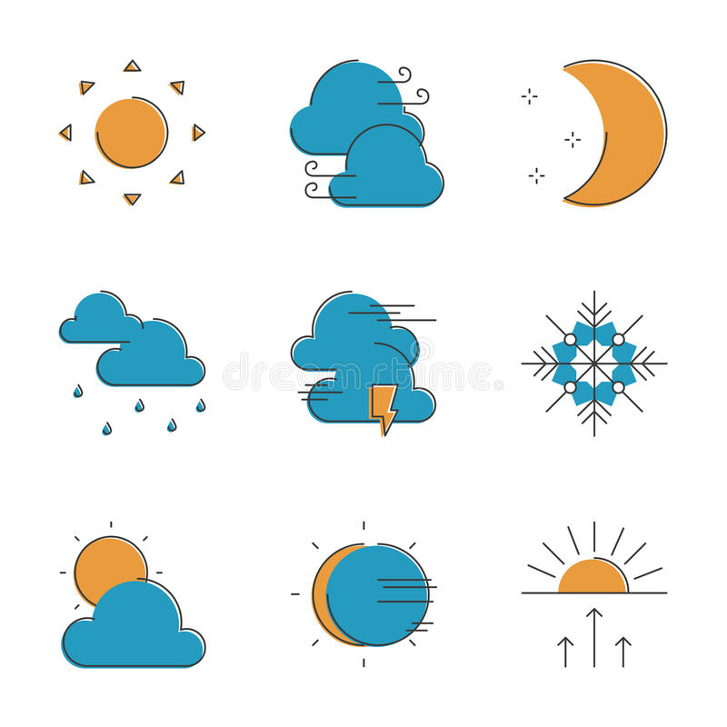 Weather line icons set. Abstract icons of local current weather conditions, including temperature, rain, wind speed, cloud, atmospheric pressure. Unusual flat vector illustration
