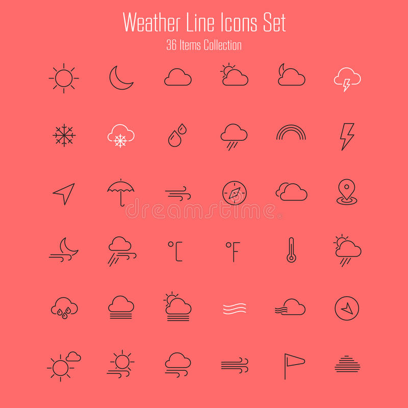 Weather line thin icons vector illustration