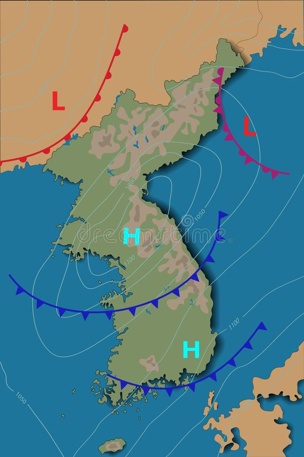 Weather map of the KOREA. Realistic synoptic map of the country showing isobars and weather fronts.Meteorological forecast. Vector. Illustration stock illustration