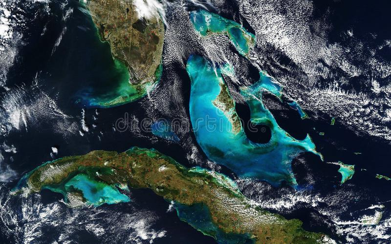 Weather map of the U.S. state of Florida, Cuba and the Bahamas. View from outer space. Some elements of this image furnished by NASA stock images