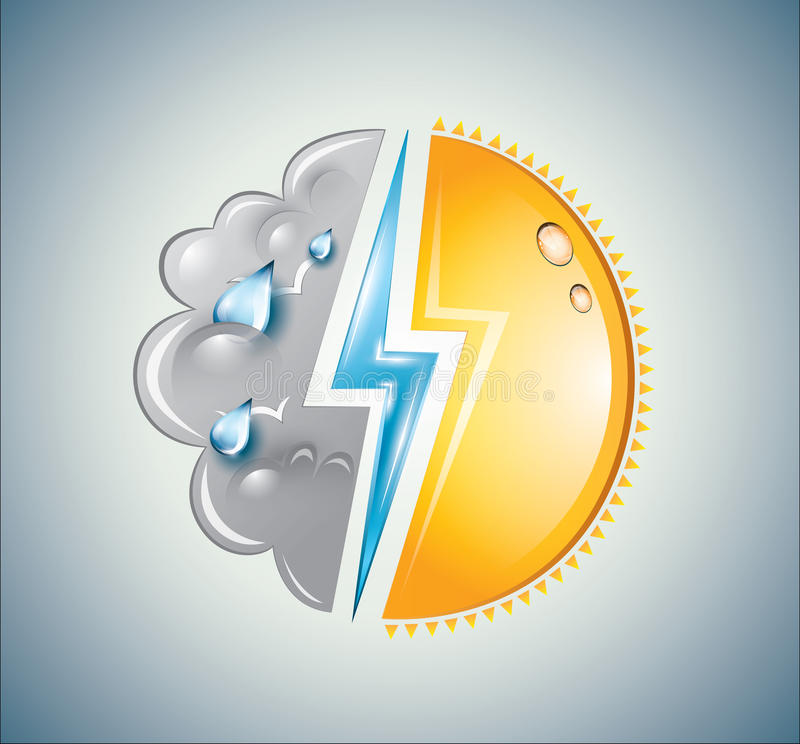 Free Weather Mixture Of Sun, Cloud And Lightning Bolt Royalty Free Stock Photography - 31029337