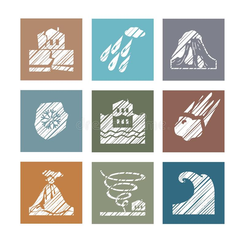 Weather, natural disasters, colored icons, hatching, vector. vector illustration