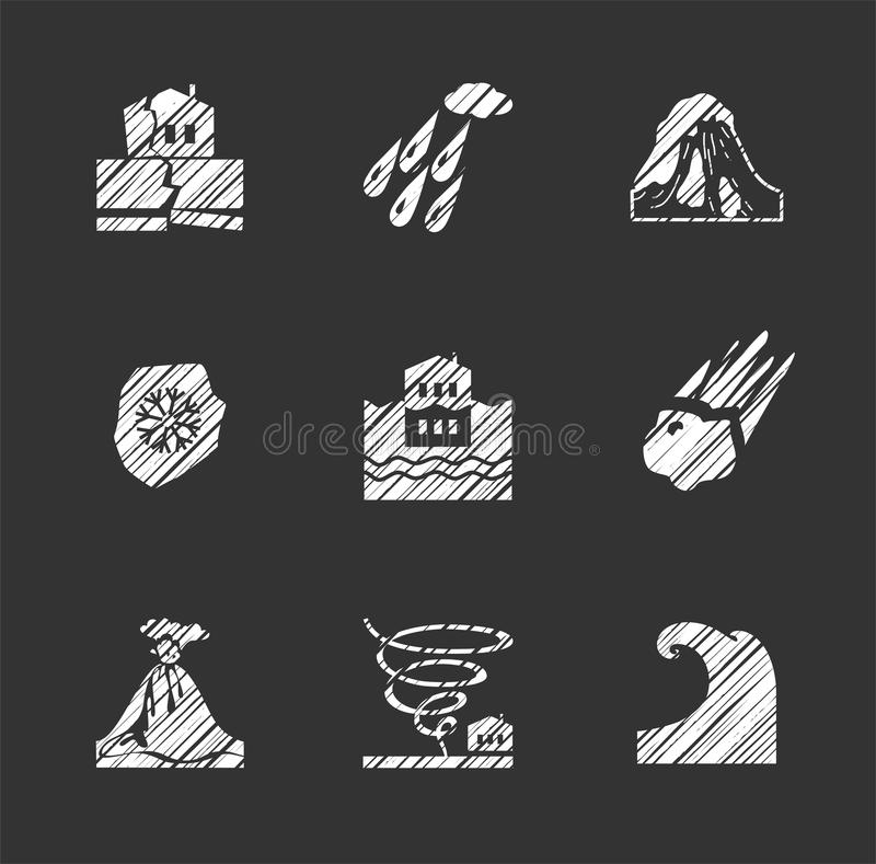 Weather, natural disasters, flat icons, hatching, vector. royalty free illustration