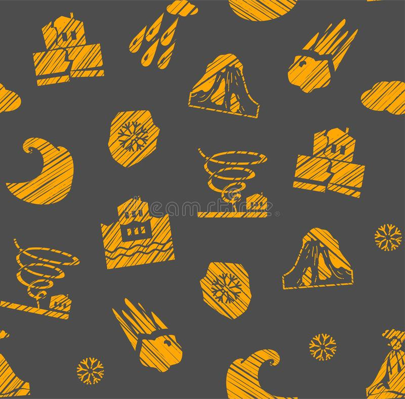 Weather, natural disasters, seamless pattern, gray-orange, hatching, vector. royalty free illustration