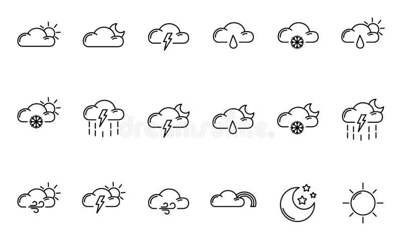 Weather Outline Icons. Set of simple outline icons - weather or forecast sings with clouds, snow, rain, fog, wind, sun and moon - vector isolated symbols stock illustration