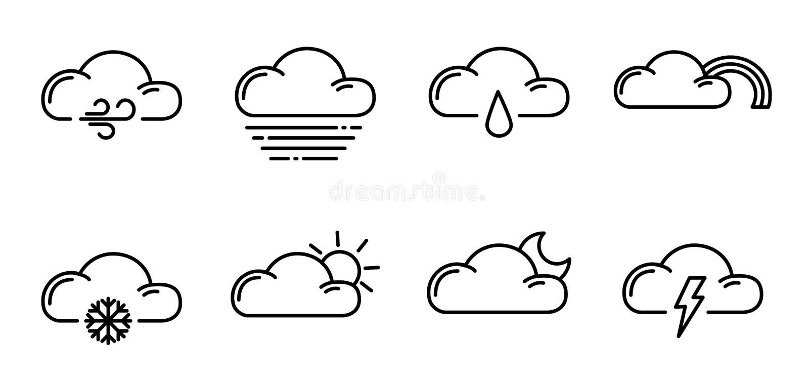 Weather Outline Icons. Set of simple outline icons - weather or forecast sings with clouds, snow, rain, fog, wind, sun and moon - vector isolated symbols royalty free illustration