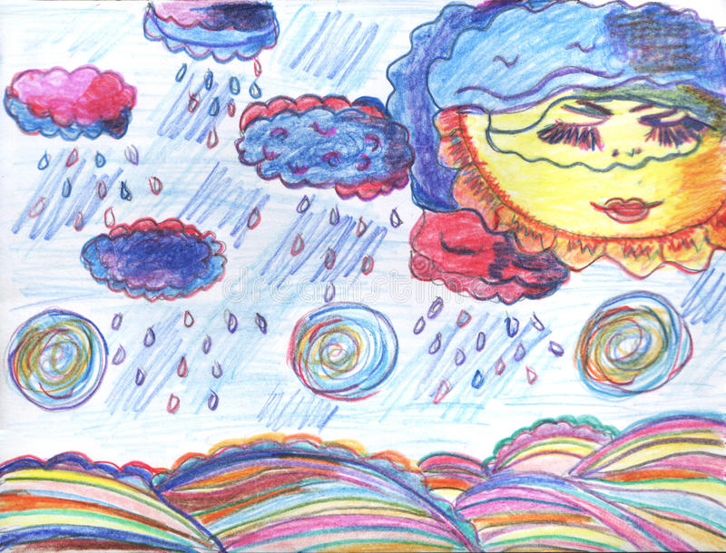 Weather painting with rain and sun stock photos