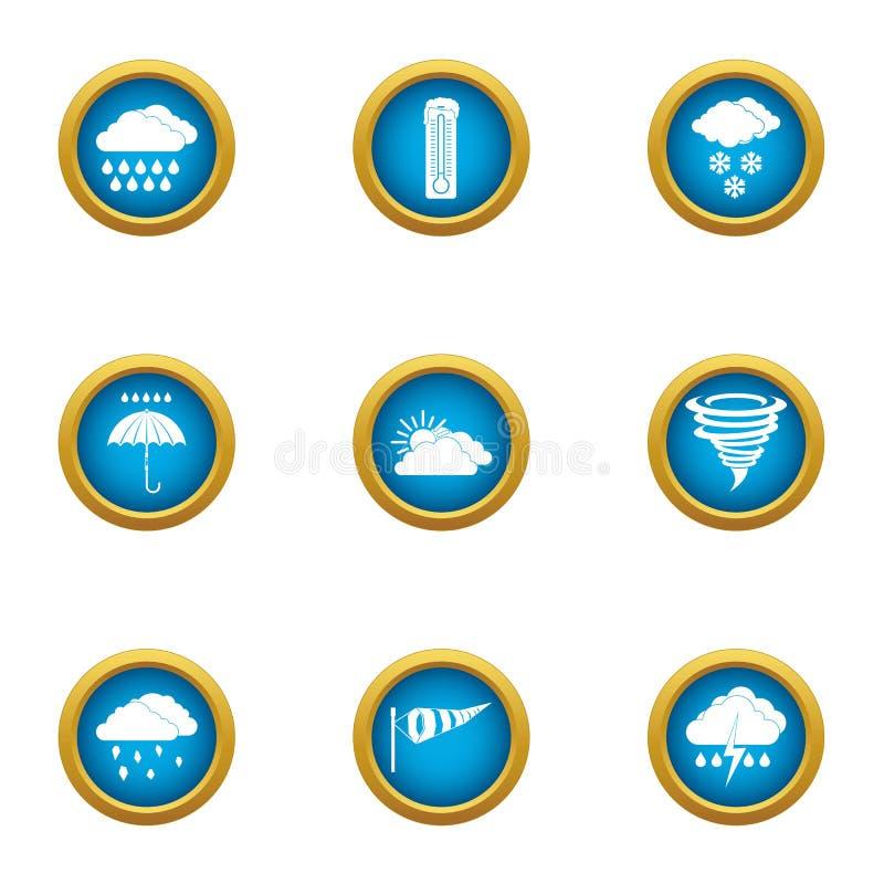 Weather pressure icons set, flat style. Weather pressure icons set. Flat set of 9 weather pressure vector icons for web isolated on white background stock illustration