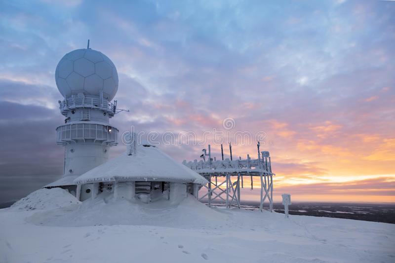 Weather radar station on the top of the mountain royalty free stock photo