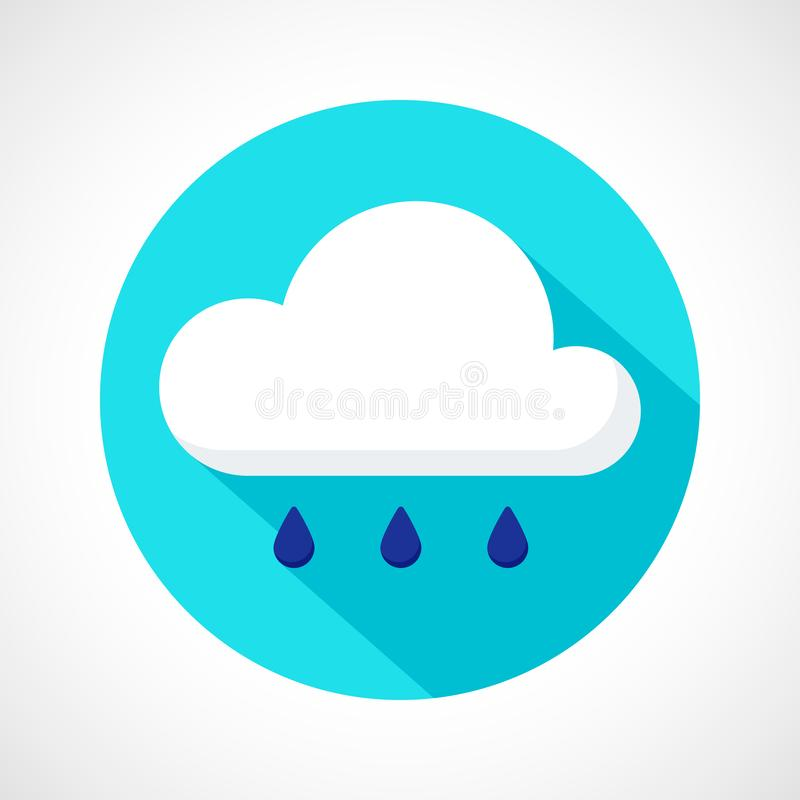 Weather rain icon. Color weather rain icon in flat style. Cloud and drops with long shadow on blue circle background for print, web or mobile app stock illustration