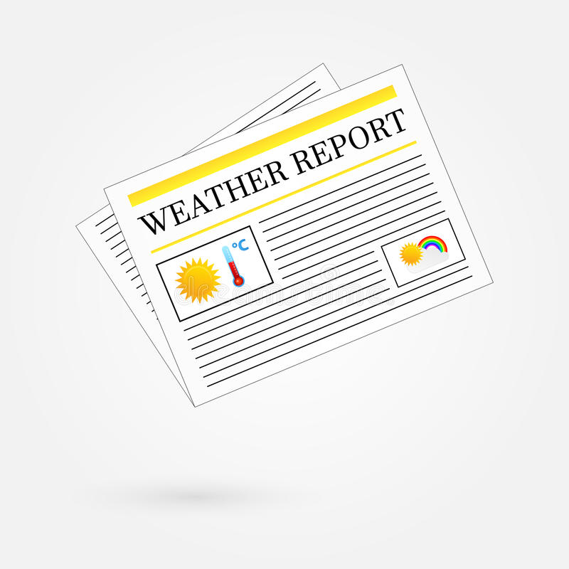Weather Report Newspaper Headline Front Page stock illustration