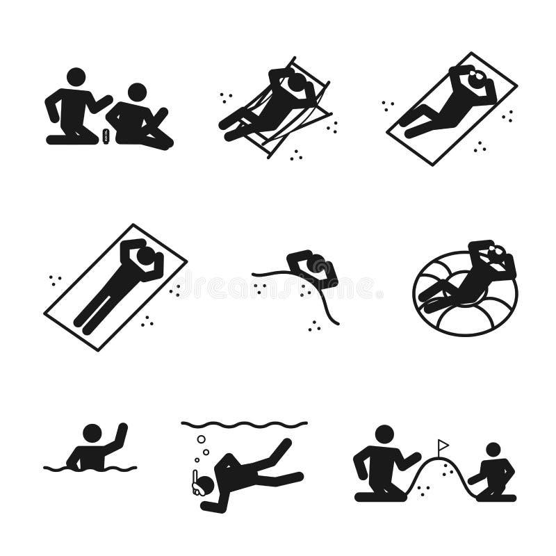 Weather Season Summer beach man icons set illustration pictogram design vector illustration