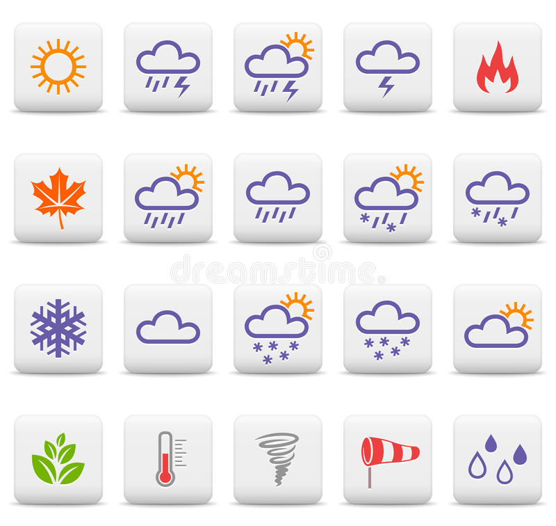 Weather and seasons icons royalty free illustration