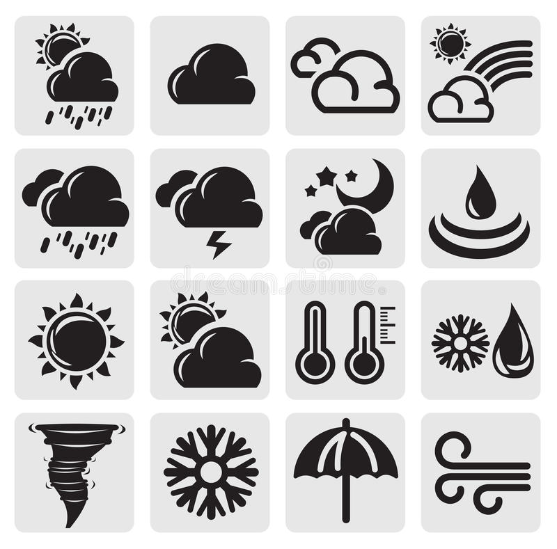 Download Weather set stock vector. Image of sign, rain, moon, storm - 26086237