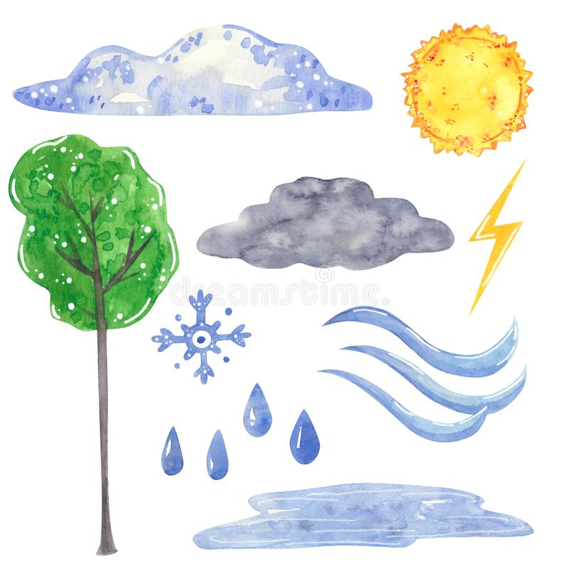 Weather set, clouds, sun, tree, hand drawn watercolor illustration stock image