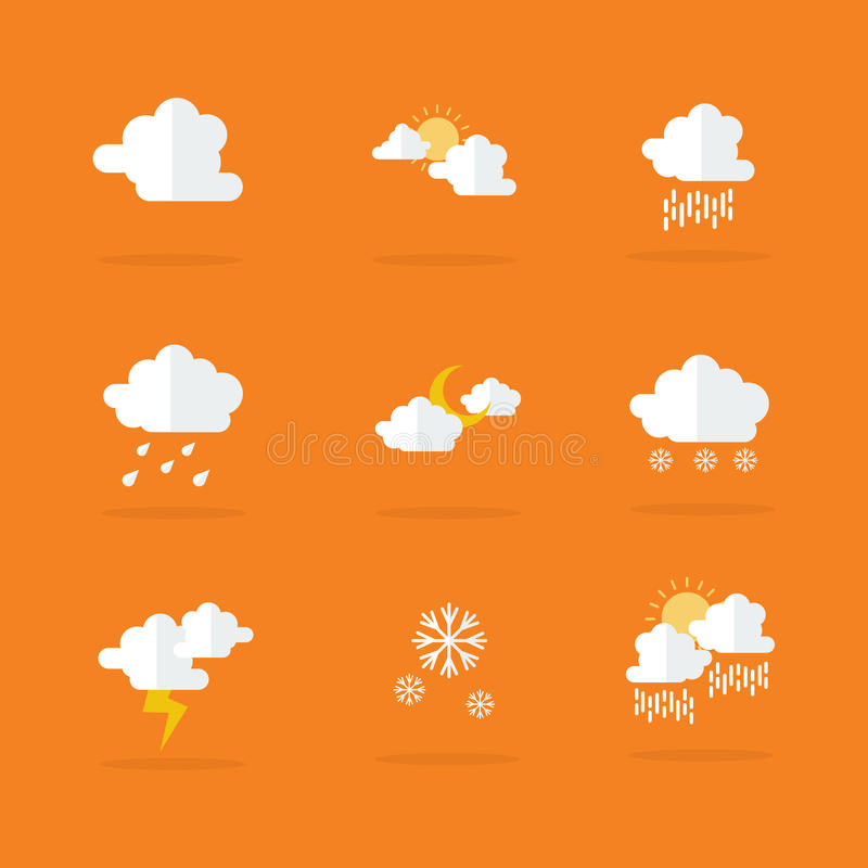 Weather set icon vector flat royalty free illustration