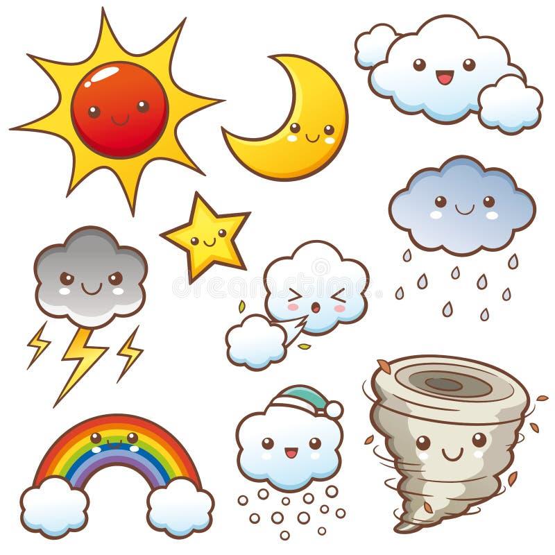 Weather set. Vector illustration of Cartoon Weather set vector illustration
