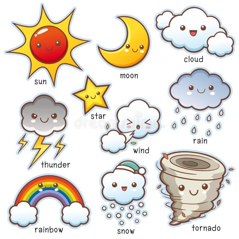 Weather set. Vector illustration of Cartoon Weather set vocabulary stock illustration
