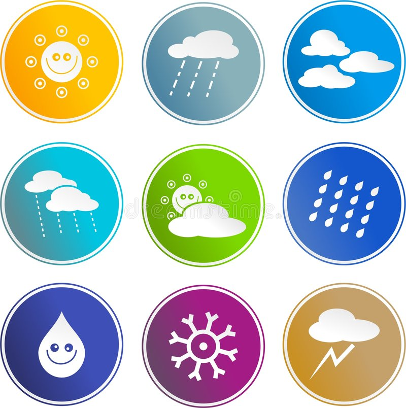 Download Weather sign icons stock vector. Image of medal, meteorology - 3289829