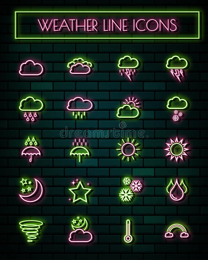 Weather sign thin neon glowing line icons set.vector illustration stock illustration