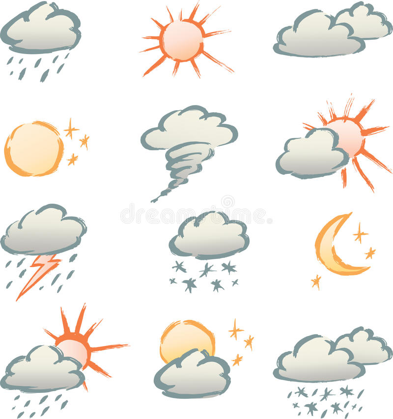Download Weather signs stock vector. Image of night, hail, symbol - 25194286