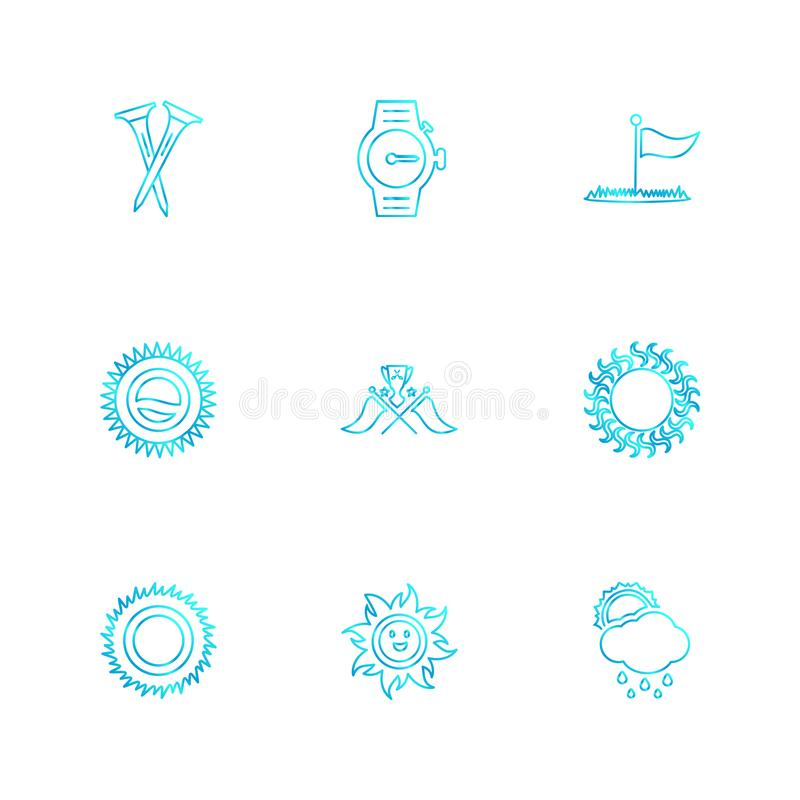 Weather , sports , climate , golft , eps icons set vector. Weather , sports , climate , golft , sun , ball , golf, bat , shot , summer , snow , clouds , rain stock illustration
