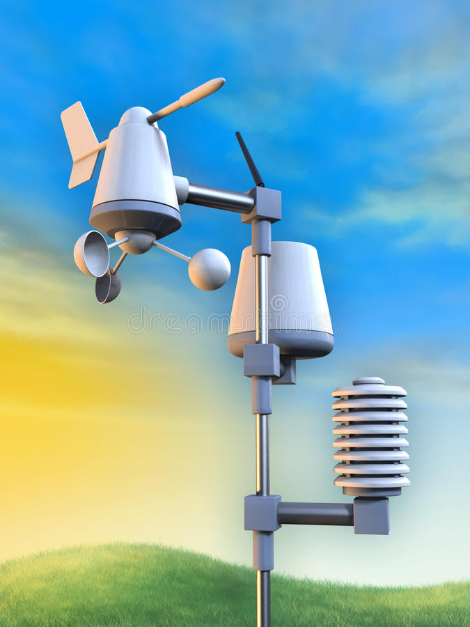 Weather station. Wireless weather station including an anemometer, a pluviometer and a temperature sensor. Digital illustration vector illustration