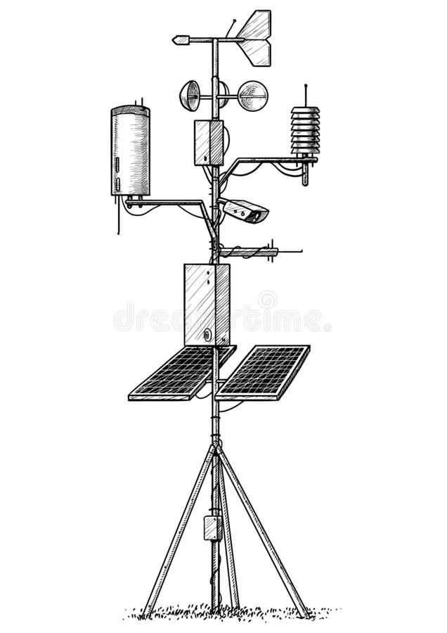 Weather station illustration, drawing, engraving, ink, line art, vector. Illustration, what made by ink and pencil on paper, then it was digitalized vector illustration