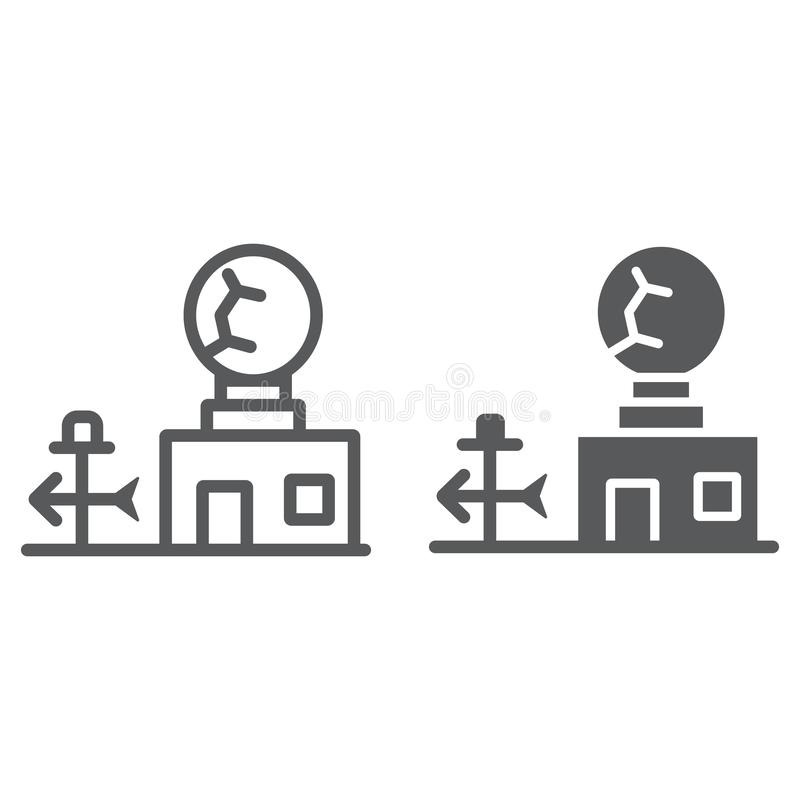 Weather station line and glyph icon, anemometer and forecast, meteorogical station sign, vector graphics, a linear. Pattern on a white background, eps 10 vector illustration