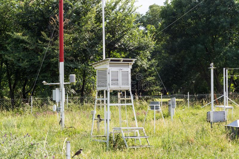 Weather station for monitoring ambient air pressure, humidity, temperature royalty free stock image