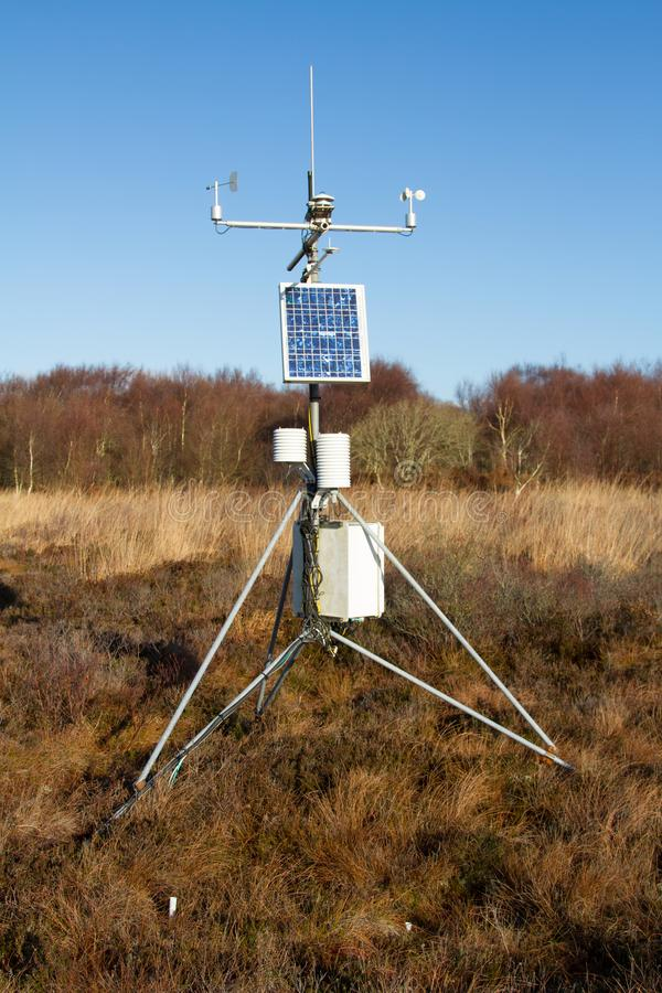 A weather station with solar panel stock photo