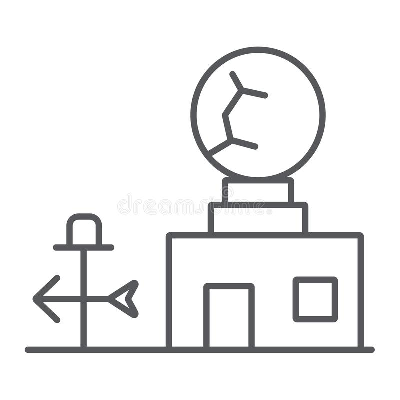 Weather station thin line icon, anemometer and forecast, meteorogical station sign, vector graphics, a linear pattern on. A white background, eps 10 royalty free illustration
