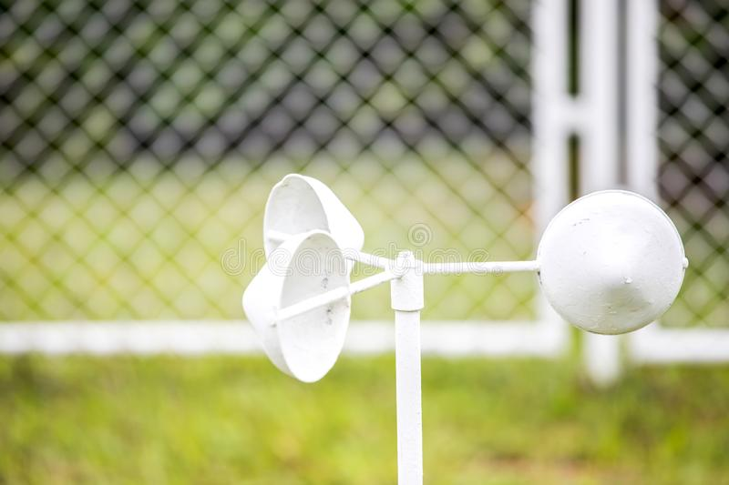 Weather Station and wind meter. In the countryside stock photography