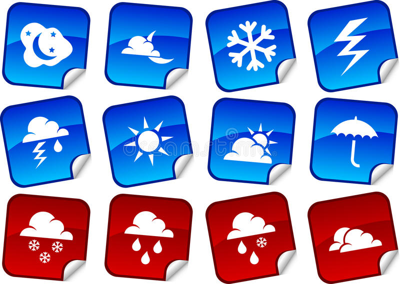 Download Weather stickers. stock vector. Image of nature, collection - 12698776