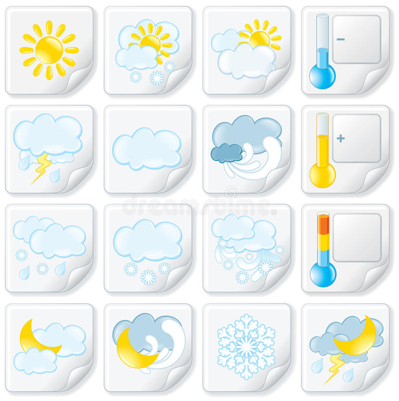 Download Weather Stickers stock vector. Image of season, cloudy - 26397834