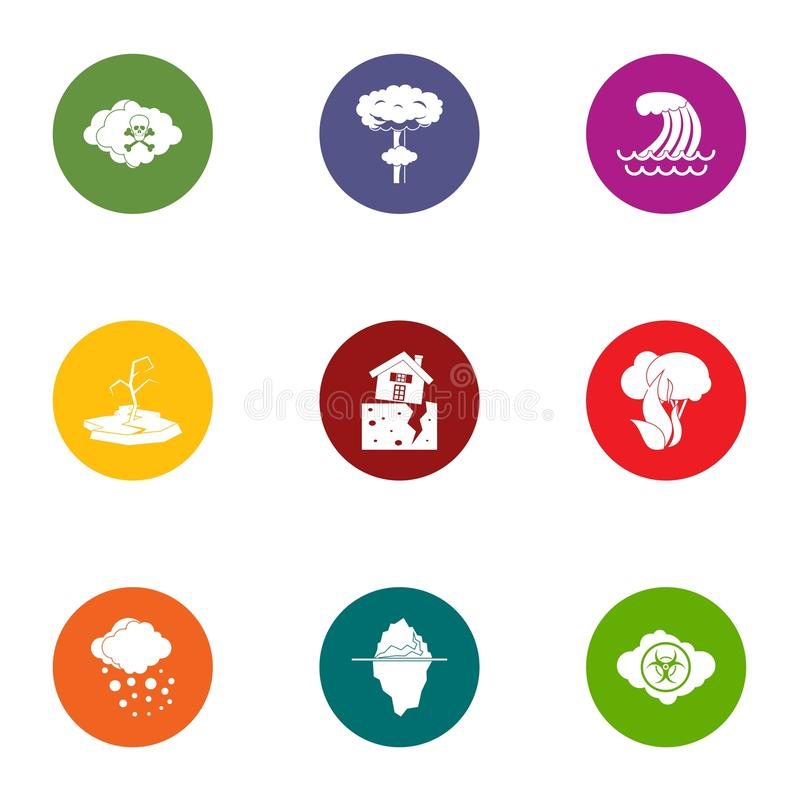Weather storm icons set, flat style royalty free illustration