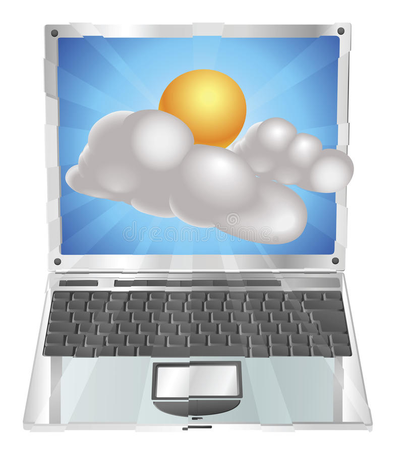Download Weather Sun And Cloud Icon  Laptop Concept Stock Vector - Illustration of clouds, design: 20484743