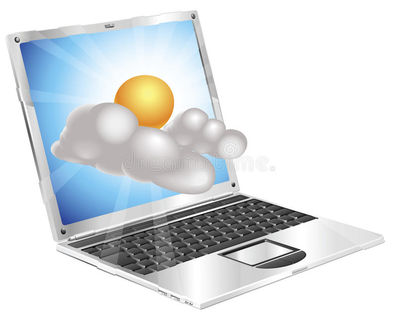 Weather sun and cloud icon laptop concept vector illustration