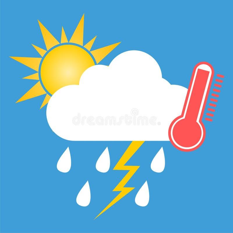 Weather Symbol Hot Rainthunder And Sun Stock Illustration