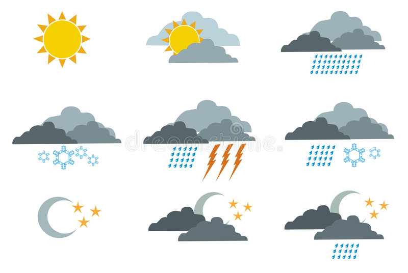 Download Weather symbols 1 stock vector. Image of cold, colorful - 5703077