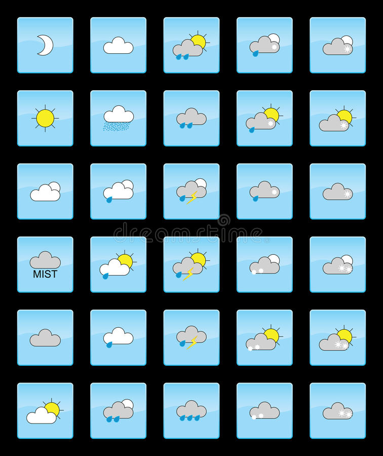 Download Weather Symbols stock illustration. Illustration of cloud - 19835320